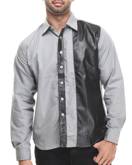Akademiks - Men Grey Austin Faux Leather Panel Button Down Shirt