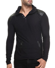 Shirts - Pullover Hoody w/ Shoulder Panel Faux leather detail