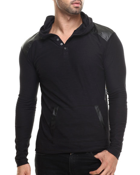 Buyers Picks - Men Black Pullover Hoody W/ Shoulder Panel Faux Leather Detail