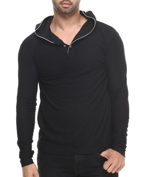 Buyers Picks - Men Black Zipper Trim Slub Jersey Pullover Hoody