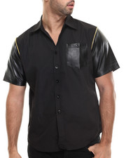 Men - Laredo Faux leather pocket trim S/S button down shirt
