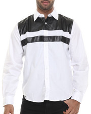 Men - Dallas Line faux leather panel  Button down shirt