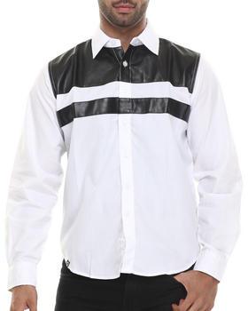 Akademiks - Dallas Line faux leather panel  Button down shirt