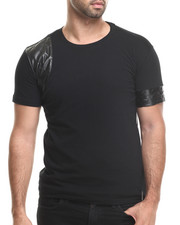 Men - Varick Faux leather trim Sleeve Tee