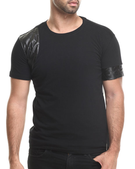Akademiks - Men Black Varick Faux Leather Trim Sleeve Tee - $21.99