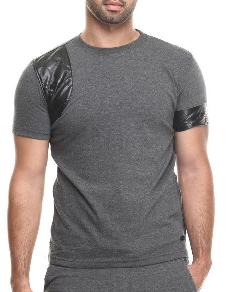Ur-ID 222906 Akademiks - Men Charcoal Varick Faux Leather Trim Sleeve Tee