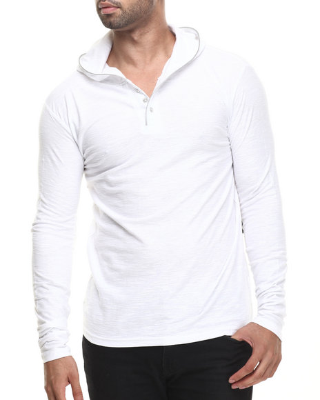 Buyers Picks - Men White Zipper Trim Slub Jersey Pullover Hoody