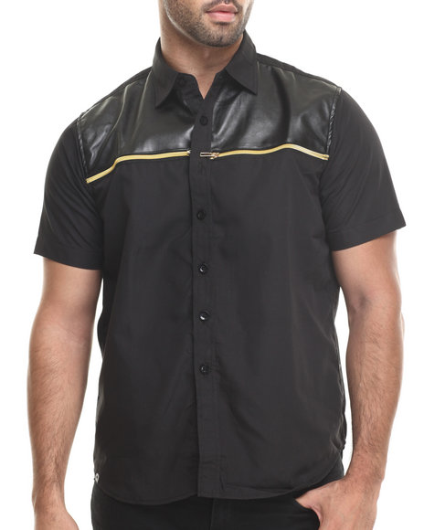 Akademiks - Men Black Wichita Faux Leather Trim Panel S/S Button Down Shirt - $30.99