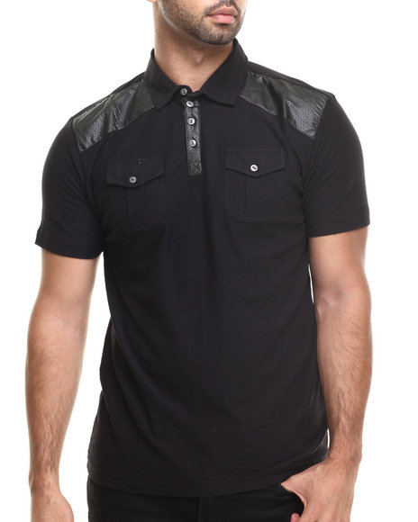 Buyers Picks - Men Black Ralph Faux Leather Trim Polo Shirt