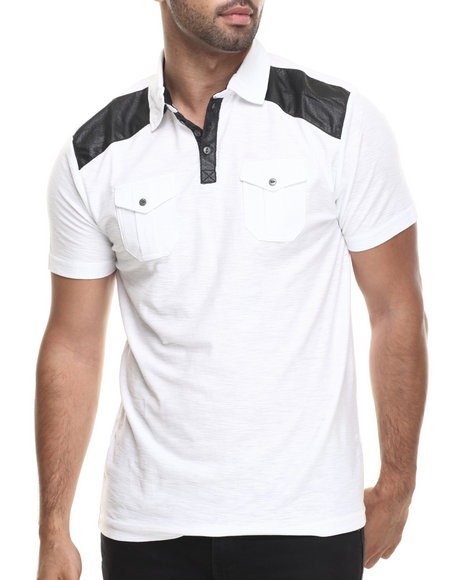 Buyers Picks - Men White Ralph Faux Leather Trim Polo Shirt