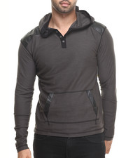Men - Pullover Hoody w/ Shoulder Panel Faux leather detail