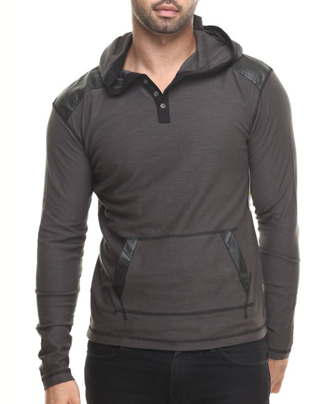 Buyers Picks - Men Grey Pullover Hoody W/ Shoulder Panel Faux Leather Detail