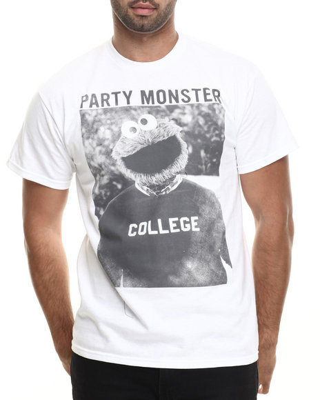 Graf-X Gallery - Men White Cookie Monster College S/S Tee