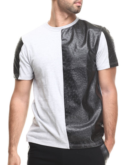 Akademiks - Men Grey Bond St Cut & Sewn Faux Ostrich Leather Detail Tee