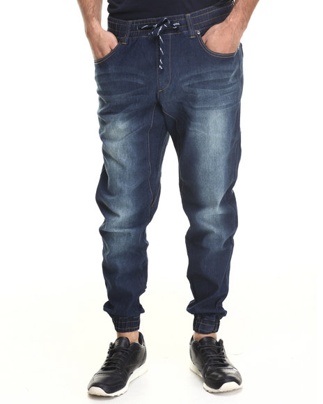 Akademiks - Men Indigo Denim Drop Crotch Jogger Pant
