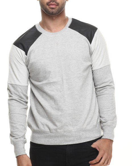 Buyers Picks - Men Grey Court Crewneck Faux Leather Trim Sweatshirt - $44.00