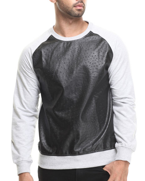 Akademiks - Men Grey Downing Crewneck Sweatshirt W/ Faux Ostrich Detail - $39.99