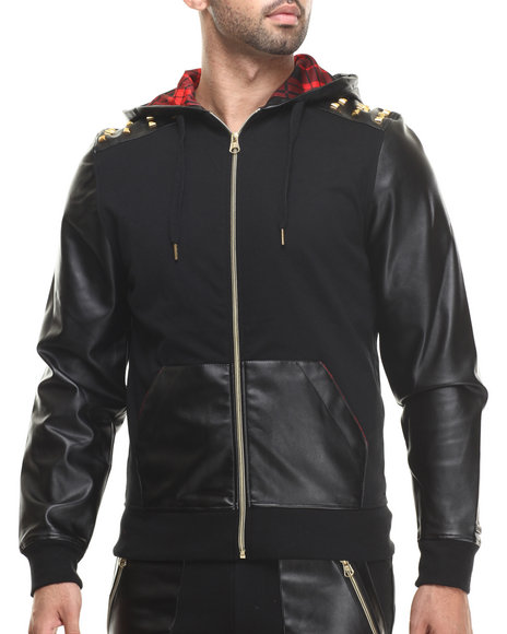Akademiks - Men Black Tartan Full Zip Faux Leather Sleeve Hody - $70.00