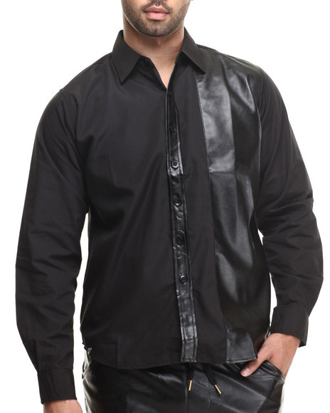 Akademiks - Austin Faux leather panel Button down shirt