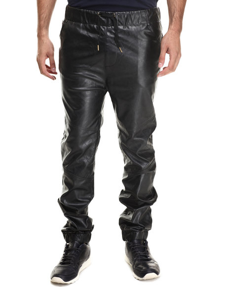 Akademiks - Men Black Mercer Faux Leather Quilted Pants - $44.00