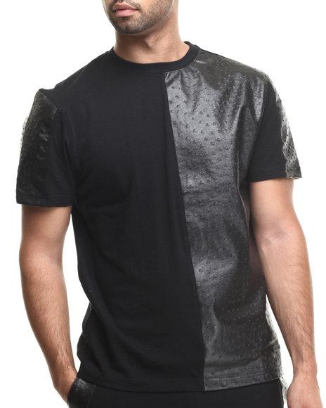 Akademiks - Men Black Bond St Cut & Sewn Faux Ostrich Leather Detail Tee - $17.99