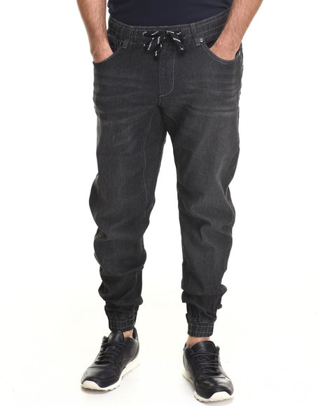 Akademiks - Men Black Denim Drop Crotch Jogger Pant - $26.99