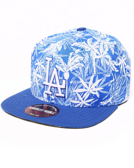 American Needle Men Los Angeles Dodgers Hilo Tropical Print Buckle Blue