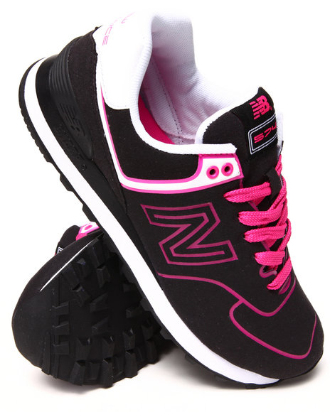 New Balance - Women Black,Pink 574 Neon Sneakers - $32.99