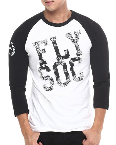 Flysociety - Men White Southside Raglan - $19.99