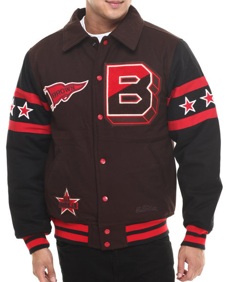 Stall & Dean - Men Brown Brown University Chenille Varsity Jacket