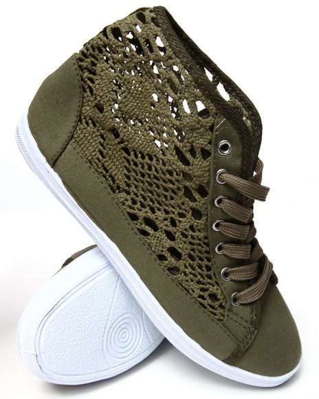 Fashion Lab - Women Olive Crochet Detail Lace Up Sneakers