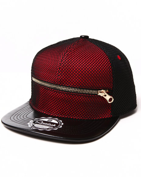 Buyers Picks Men $Hit Got Serious Red Mesh Overlay Zip Snapback Hat Red