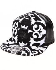 Buyers Picks - Royal Print Faux Leather detail Snapback hat