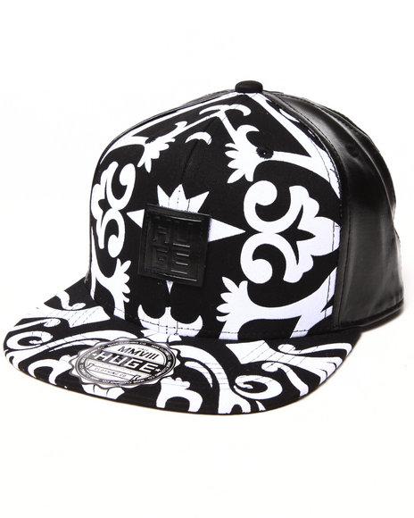 Buyers Picks Men Royal Print Faux Leather Detail Snapback Hat Black