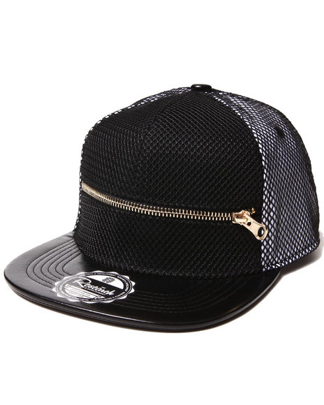 Buyers Picks Men $Hit Got Serious Mesh Overlay Zip Snapback Hat Black