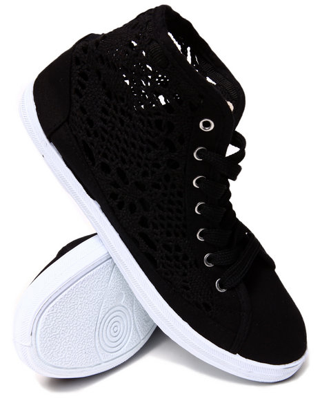 Fashion Lab - Women Black Crochet Detail Lace Up Sneakers
