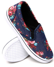 Sneakers - Floral Blue Denim Printed Slip On Sneaker