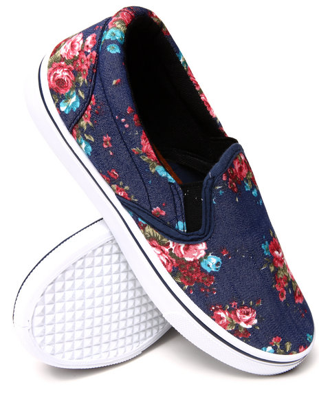 Fashion Lab - Floral Blue Denim Printed Slip On Sneaker