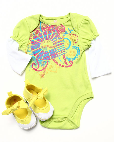 Akademiks - Girls Lime Green L/S Bodysuit W/ Booties (Newborn) - $19.99