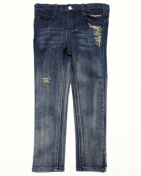 Baby Phat - Girls Dark Wash Studded Ombre Jeans (4-6X)