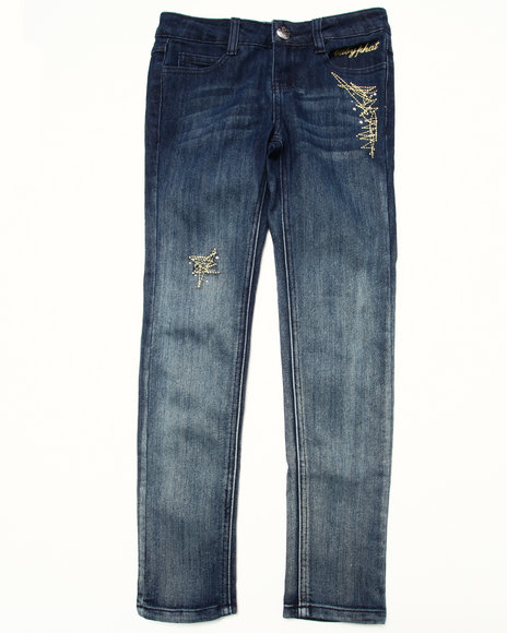 Baby Phat - Girls Dark Wash Studded Ombre Jeans (7-16)
