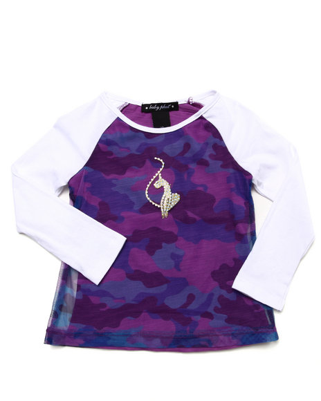 Baby Phat - Girls Violet L/S Top W/ Camo Mesh Overlay (2T-4T) - $14.99
