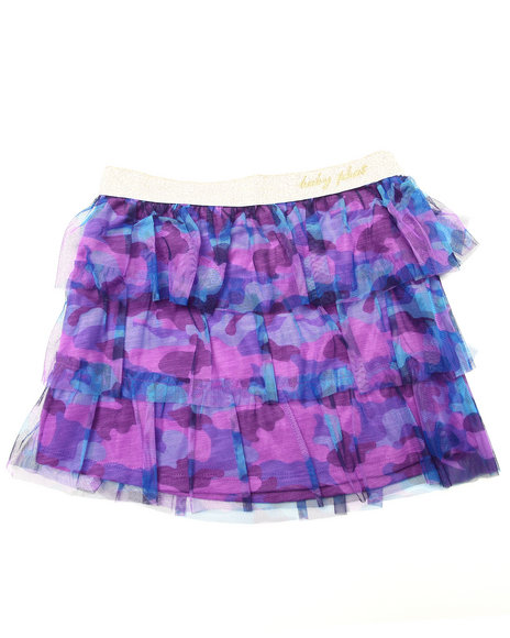 Baby Phat - Girls Violet Camo Mesh Tiered Skirt (7-16)