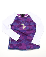 Girls - L/S TOP W/ CAMO MESH OVERLAY (4-6X)
