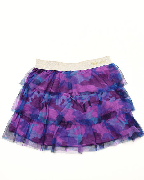 Baby Phat - Girls Violet Camo Mesh Tiered Skirt (4-6X)