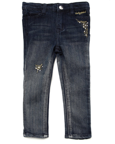 Baby Phat - Girls Dark Wash Studded Ombre Jeans (2T-4T)