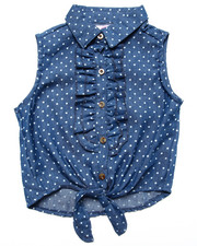 Tops - POLKA DOT DENIM TIE FRONT TOP (7-16)