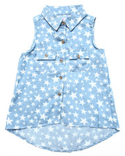 Tops - STAR PRINT DENIM SHIRT (4-6X)