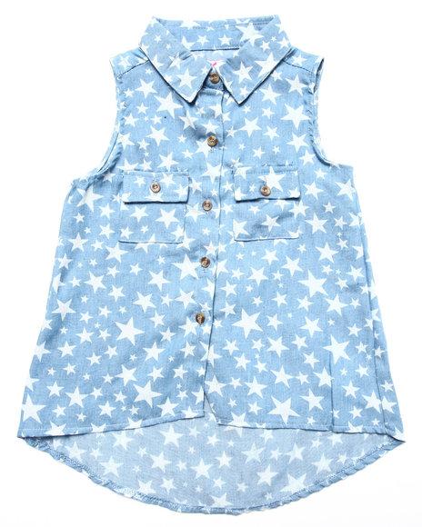 Dollhouse - Girls Light Wash Star Print Denim Shirt (4-6X)