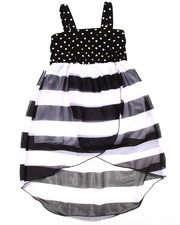 Girls - POLKA DOT & STRIPE CHIFFON DRESS (4-6X)